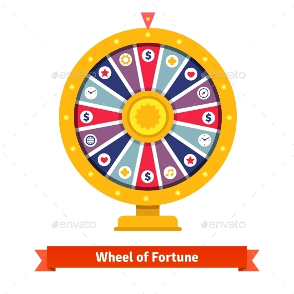 Wheel Of Fortune With Bets Icons - Conceptual Vectors