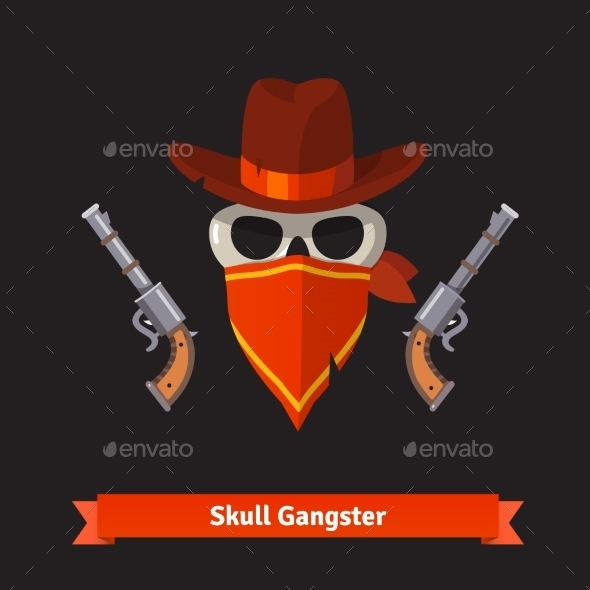 Skull Gangster In Stetson Hat With Revolver Guns - Tattoos Vectors