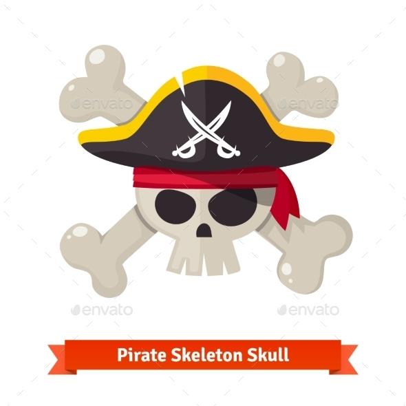Pirate Skull With Crossed Bones In Black Hat - Characters Vectors