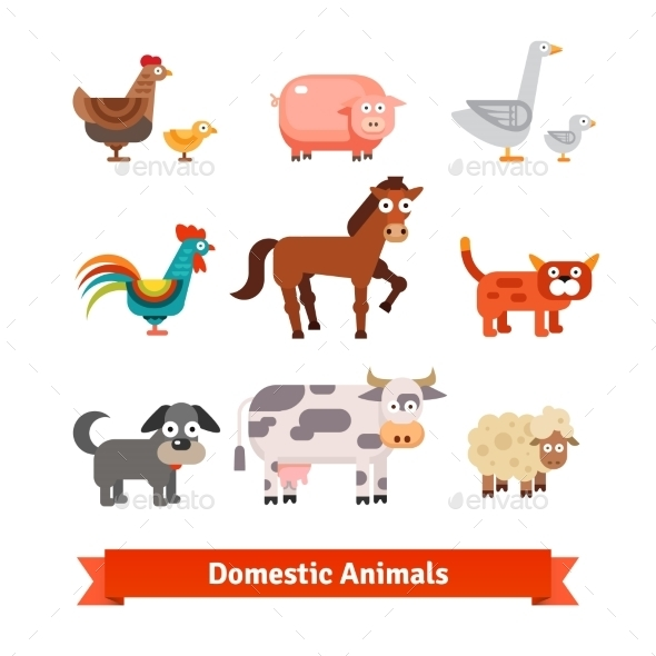 Set Of Village Farm Domestic Animals - Animals Characters