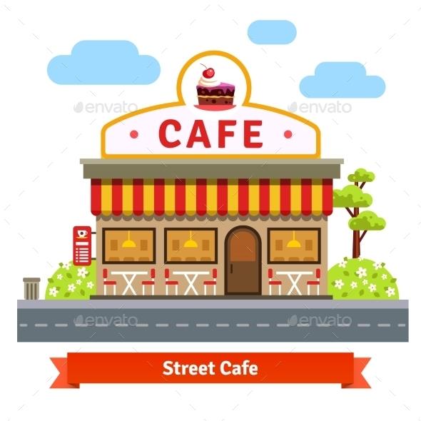 Open Cafe Building Facade - Conceptual Vectors