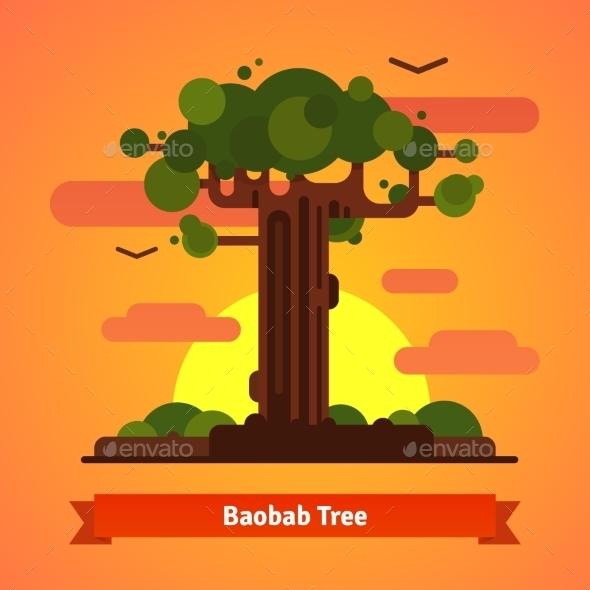 Baobab Tree Evening Sunset Scene - Travel Conceptual