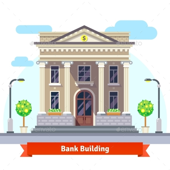 Facade Of a Bank Building With Columns - Buildings Objects