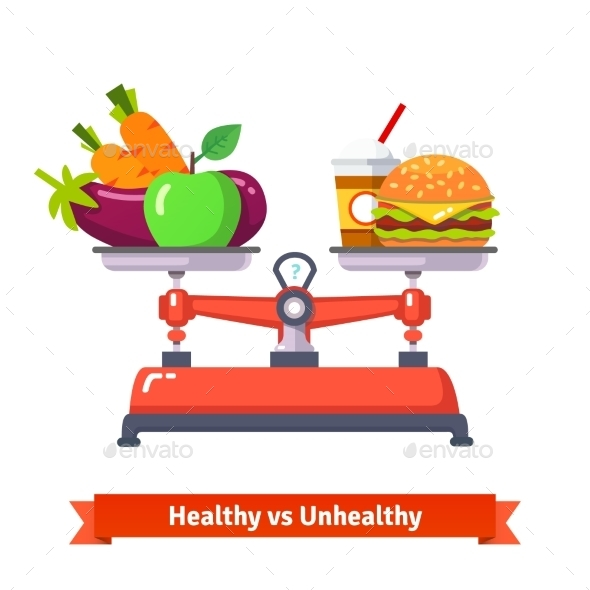 Healthy Versus Unhealthy Food - Food Objects