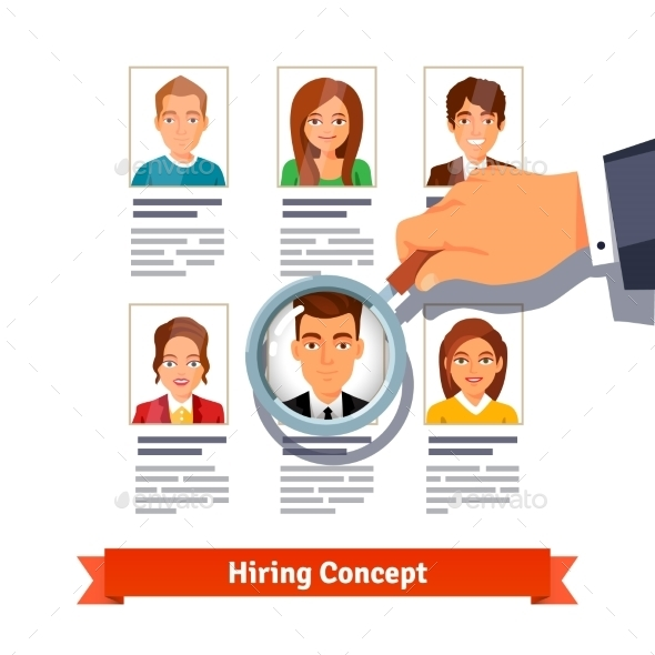 HR Manager Looking On Candidates. Hiring Concept - People Characters