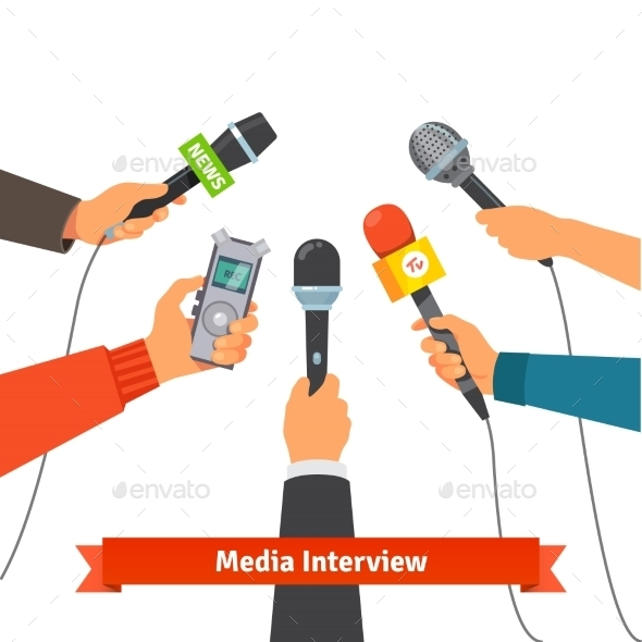 Journalism Concept. Microphones And Voice Recorder - People Characters