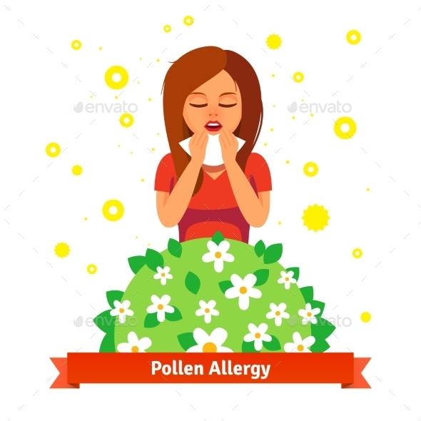 Girl Suffering From Spring Pollen Allergy - Health/Medicine Conceptual