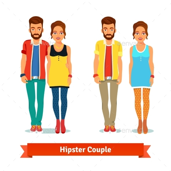 Casual Dressed Standing Hipster Couple - People Characters