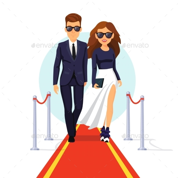 Two Rich Celebrities Walking On a Red Carpet - People Characters