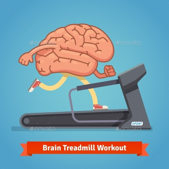 Brain Working Out On Treadmill. Education Concept - Sports/Activity Conceptual