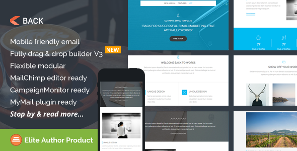 Back, Multipurpose Email Template + Builder Access