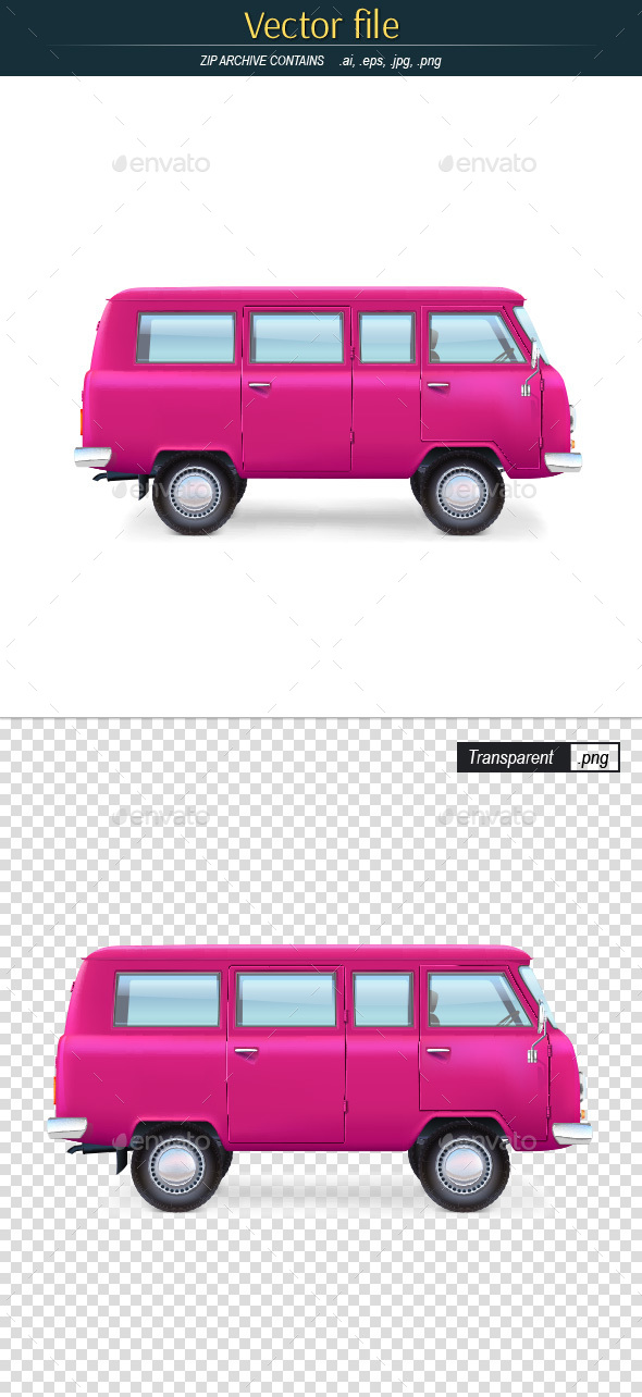 Retro Bus Editable Vector - Man-made Objects Objects