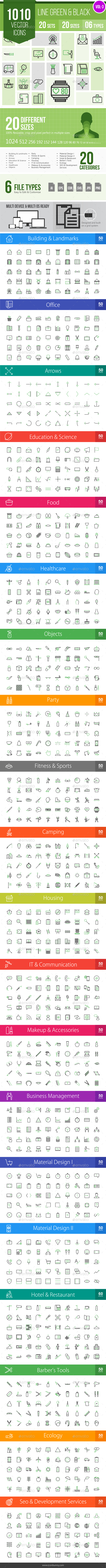 1010 Vector Green & Black Line Icons - Icons