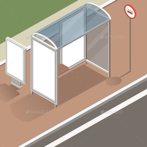 Isometric Bus Stop Mockup - Travel Conceptual