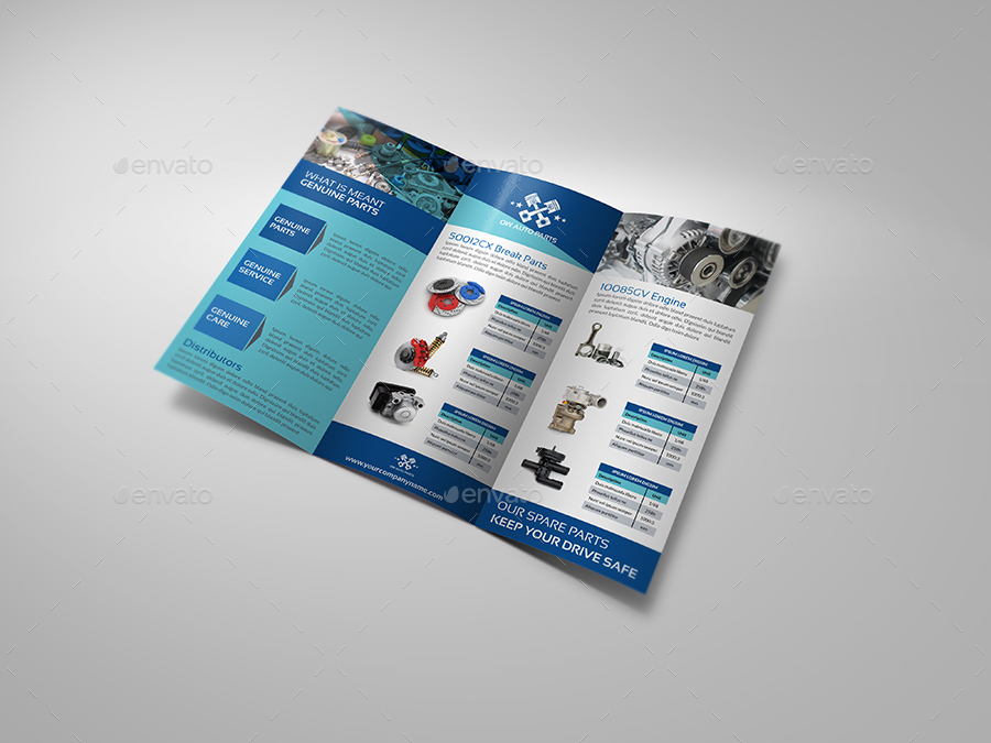 Auto Parts Catalog TriFold Brochure Template By OWPictures - Tri fold brochures templates