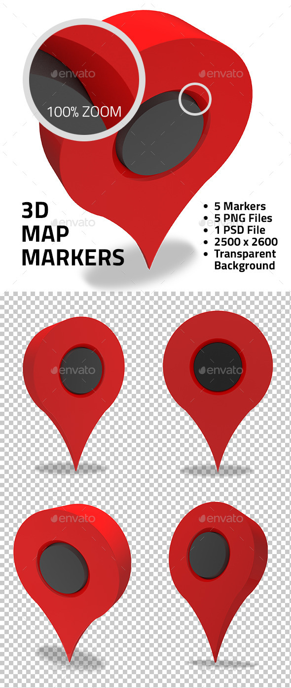 3d Map Markers - Objects 3D Renders