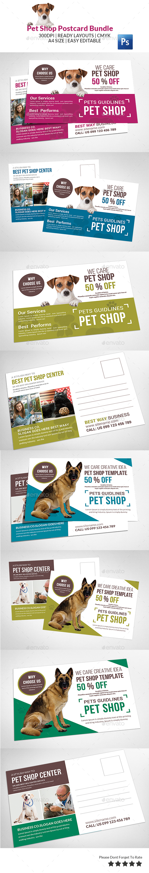 Pet Shop Postcard Bundle - Cards & Invites Print Templates