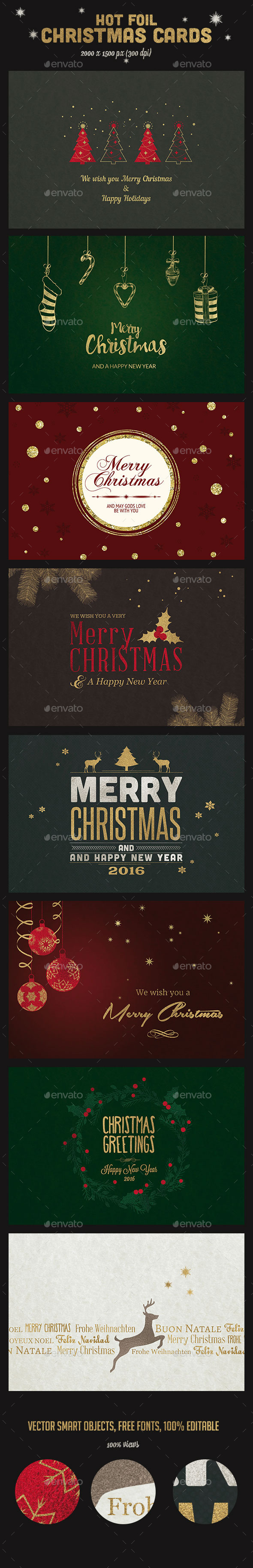 9 Hot Foil Christmas Backgrounds / Cards - Holiday Greeting Cards