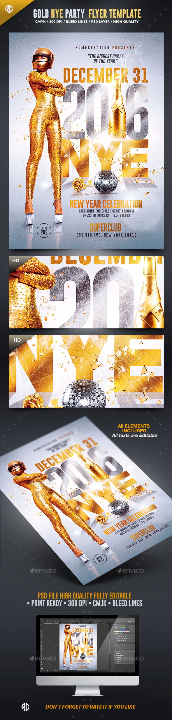 NYE Gold Party 2016 | Psd Flyer Template  - Events Flyers
