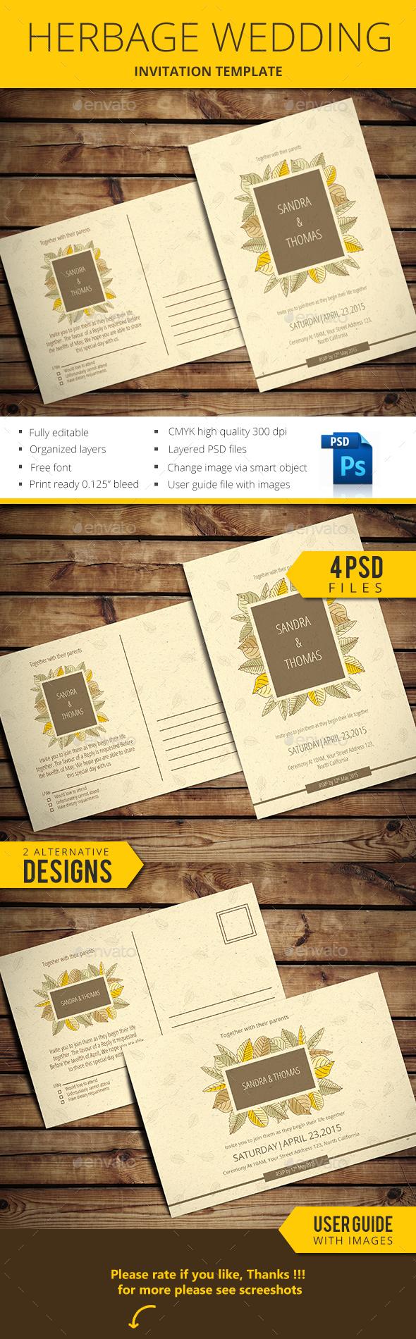 Herbage Wedding Invitation - Weddings Cards & Invites