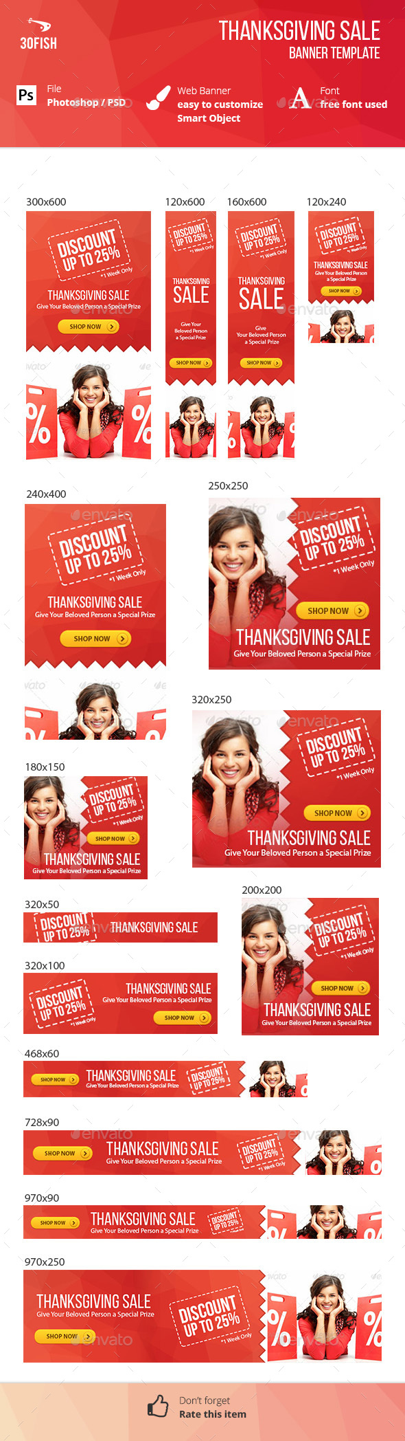 Thanksgiving Sale Banner - Banners & Ads Web Elements