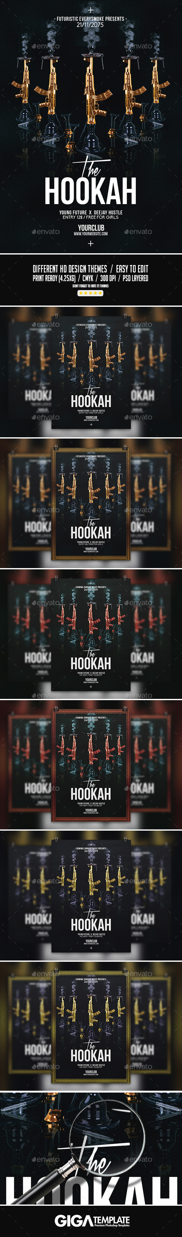 The Hookah | Dark Modern Party PSD Flyer Template - Events Flyers