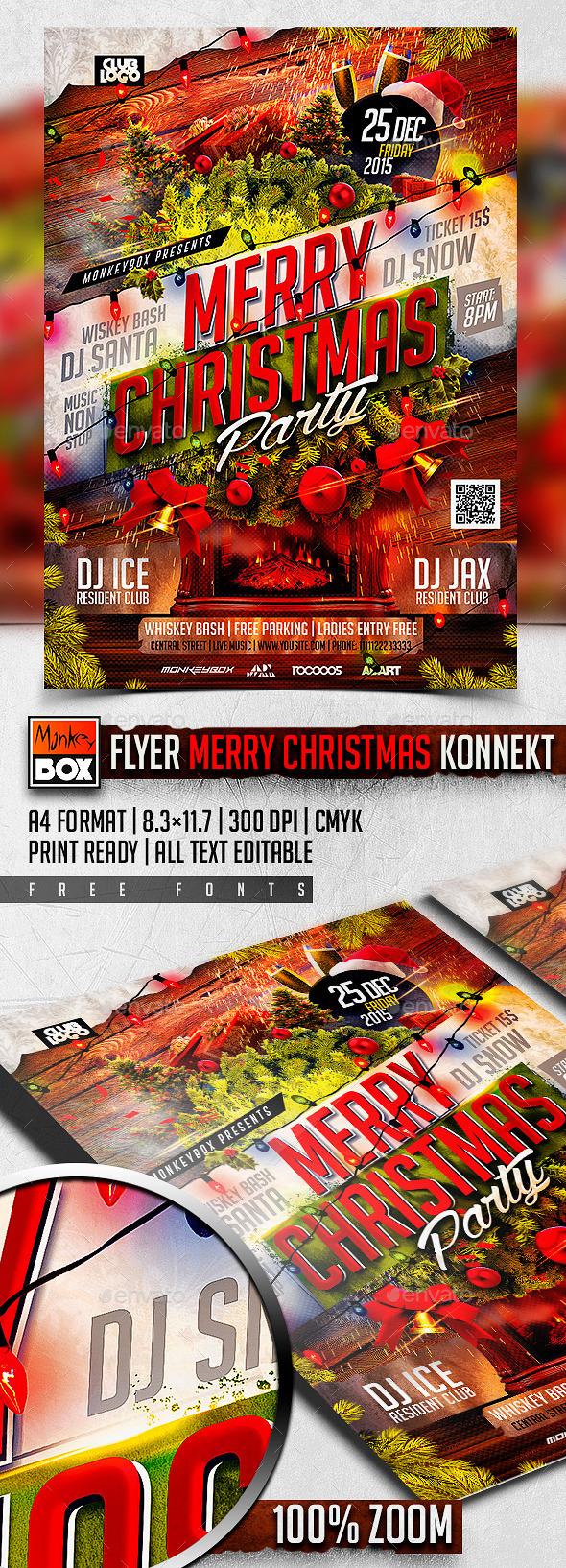 Flyer Merry Christmas Konnekt - Flyers Print Templates