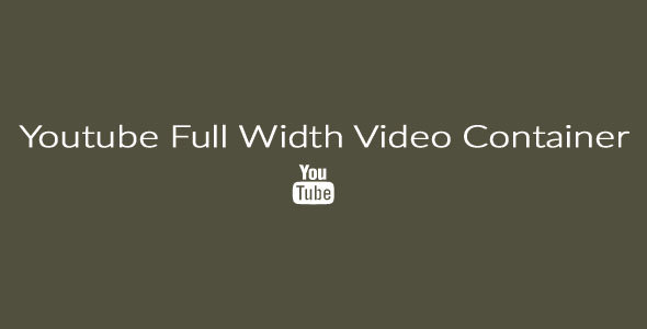 Full Width Youtube Video Container  - CodeCanyon Item for Sale