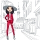 Vector Beautiful Fashion Girl In Costume And Hat - GraphicRiver Item for Sale