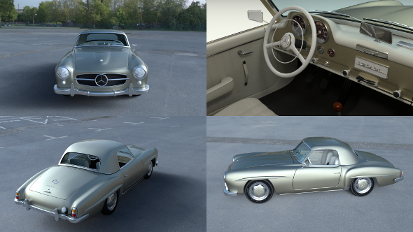 Mercedes 190SL with Interior Hard Top - 3DOcean Item for Sale