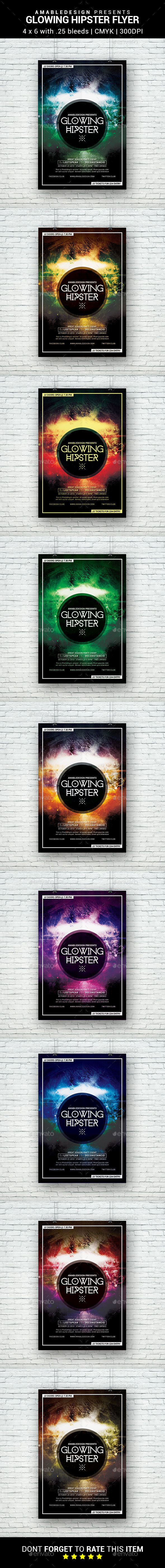 Glowing Hipster Flyer - Clubs & Parties Events