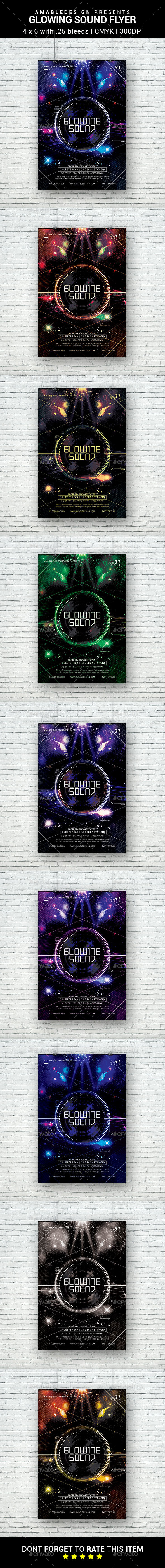 Glowing Sound Flyer - Clubs & Parties Events