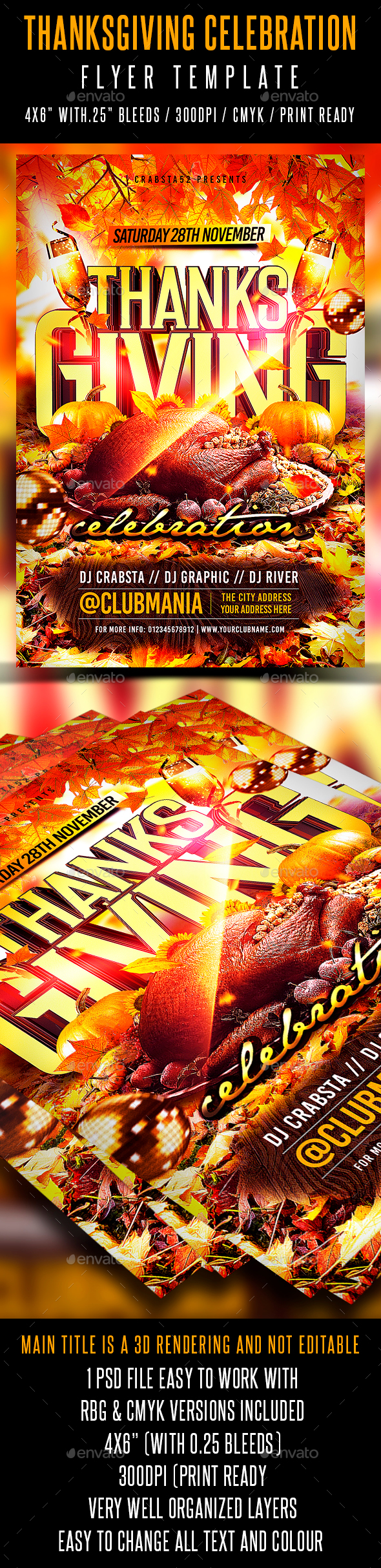 Thanksgiving Celebration Flyer Template - Events Flyers