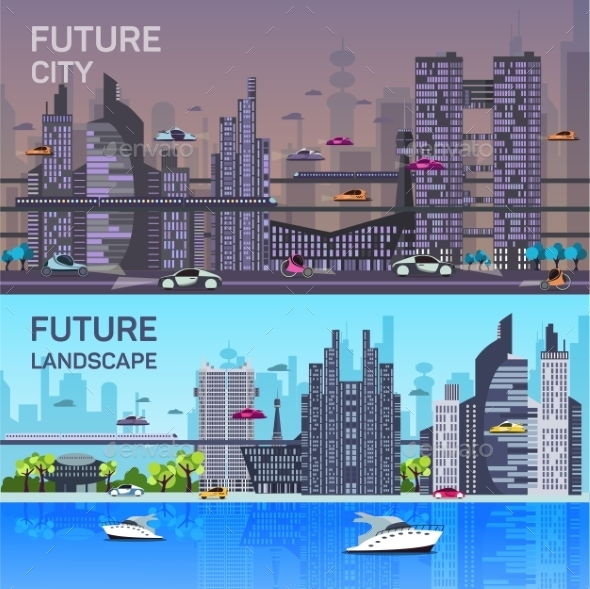 Busy Urban Cityscape Templates With Modern - Web Technology