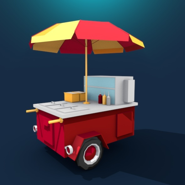 Hot Dog Cart - 3DOcean Item for Sale