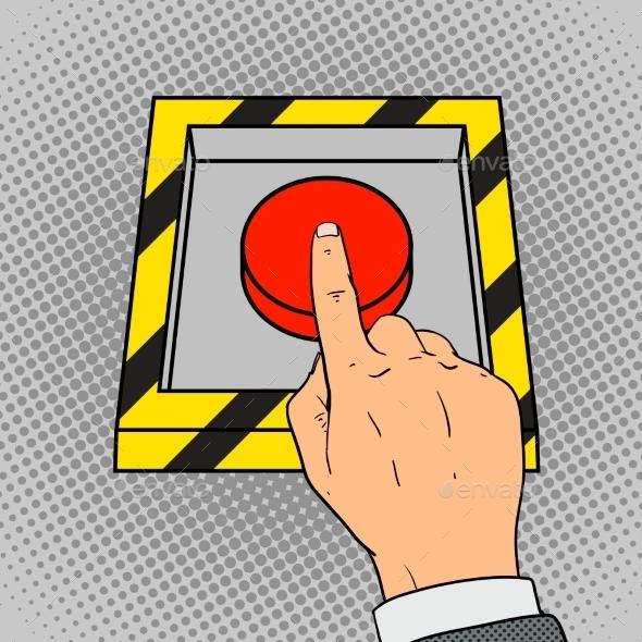 Hand Push The Red Button Pop Art Vector - Decorative Symbols Decorative