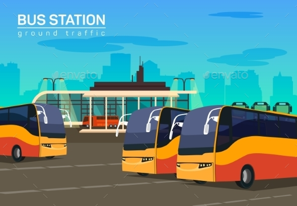 Bus Station, Vector Flat Background Illustration - Travel Conceptual