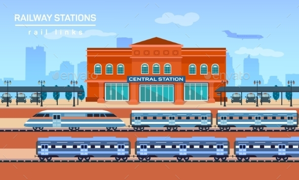 Railway Station, Vector Flat Background - Travel Conceptual