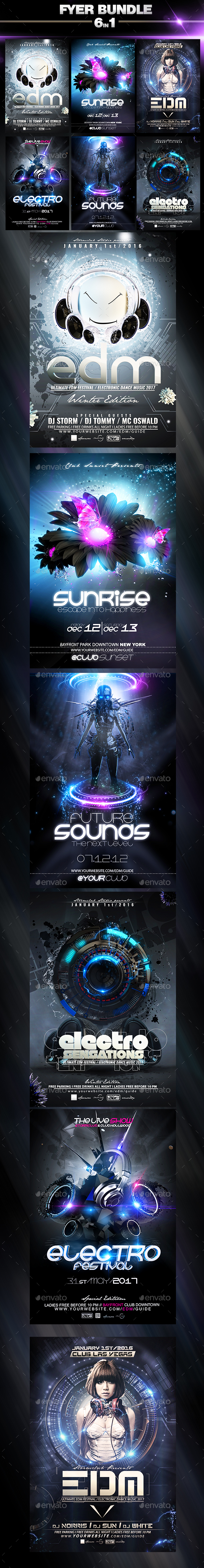 Party Flyer Electro Bundle V3 - Events Flyers