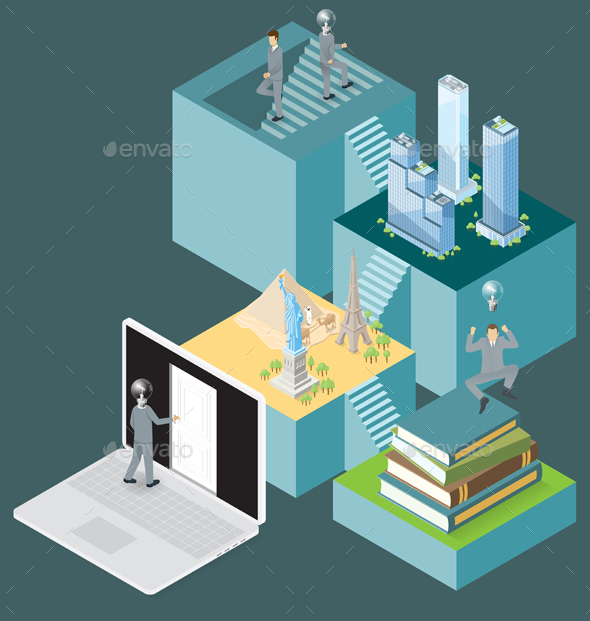 Vector 3d Flat Isometric With Internet Concept - Business Conceptual