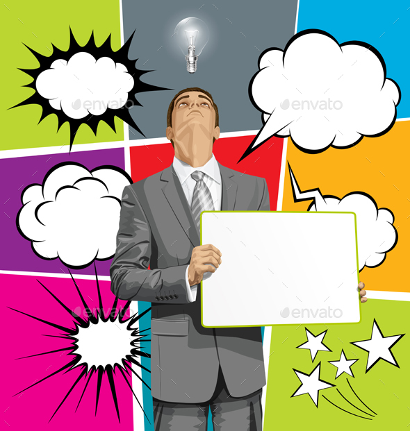 Big Set Of Bubble Speech And Man Looking Up - Business Conceptual