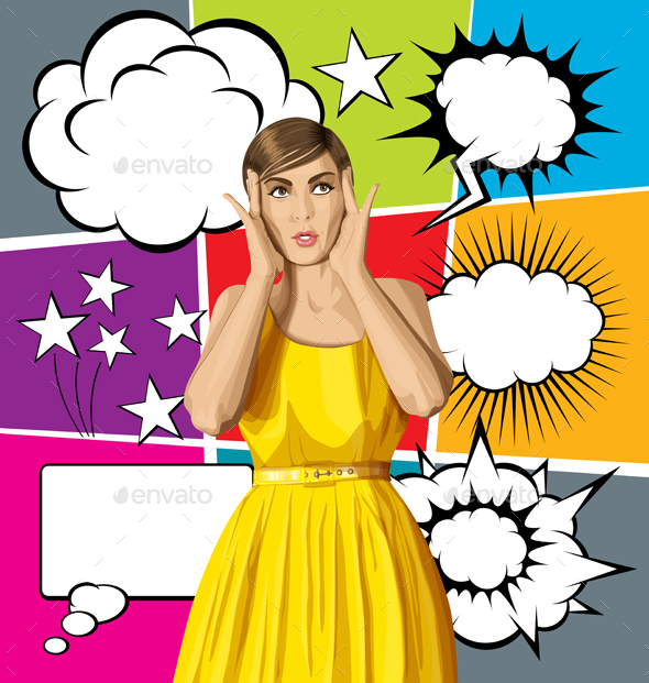 Vector Surprised Girl in Dress with Bubble Speech - People Characters