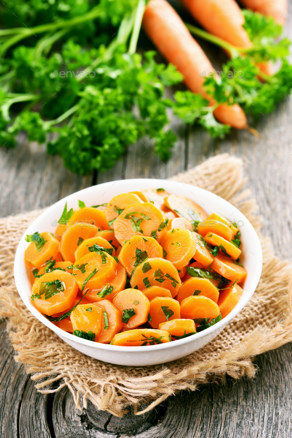 Vegetables salad with carrot and green herbs - Stock Photo - Images