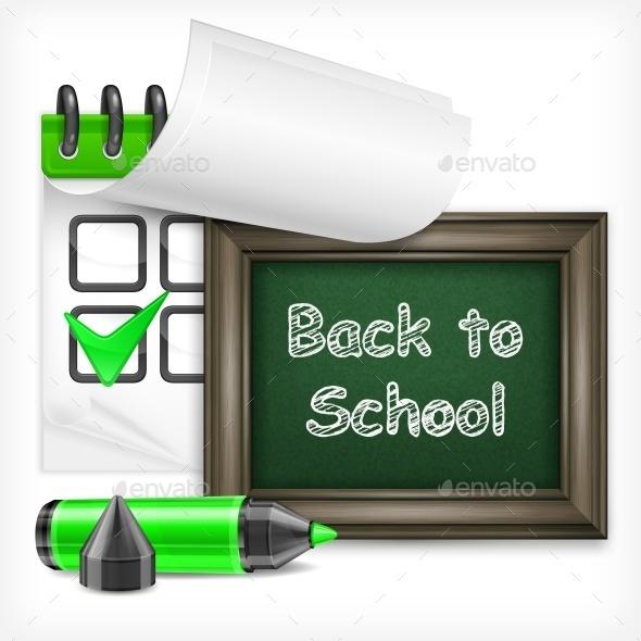 School Blackboard and Felt-Tip Pen - Miscellaneous Vectors