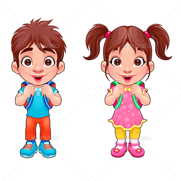 Young Boy and Girl Students - People Characters