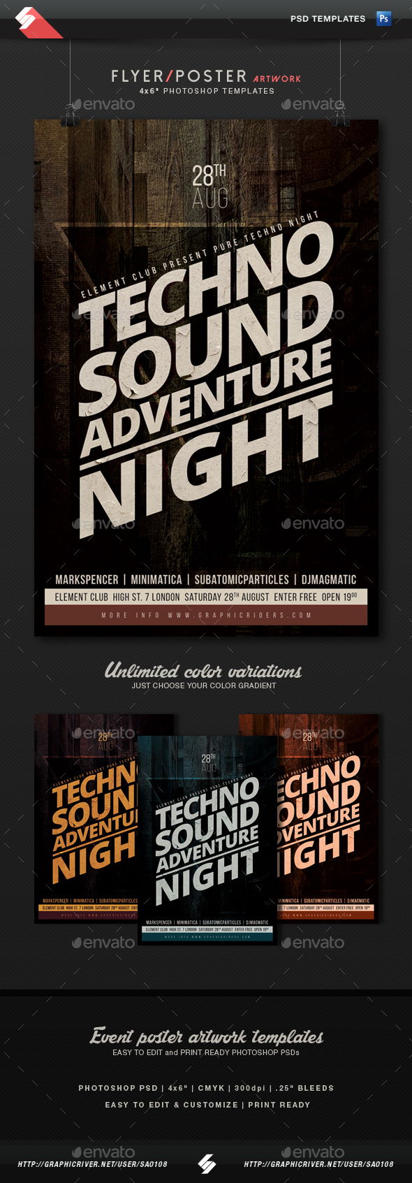 Techno Sound Night Party Flyer Template - Clubs & Parties Events