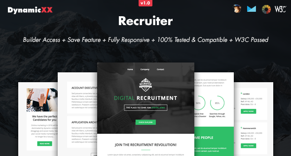 Recruiter - Responsive Email + Online Builder - Email Templates Marketing