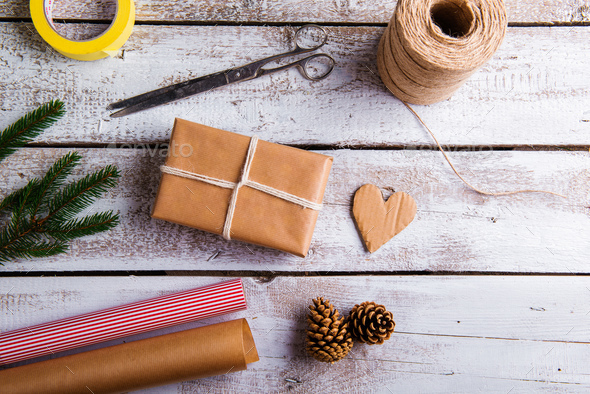 Christmas presents on a table - Stock Photo - Images