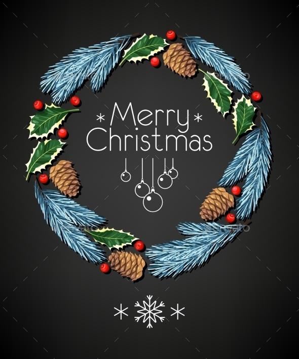 Spruce And Holly Christmas Wreath - Christmas Seasons/Holidays