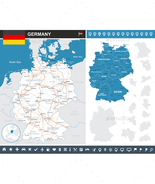 Germany Map - Travel Conceptual